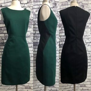 Tahari Black Green Sexy Color Block Sheath Dress